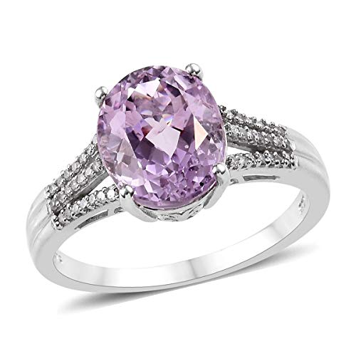 AA Premium Kunzite Diamond Ring 925 Sterling Silver Platinum Plated Jewelry for Women Size 6 Ct 10.6