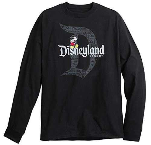 Disney Mickey Mouse with Disneyland Logo Long Sleeve Tee for Adults (Large) Black