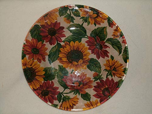 The Unique Gift Boutique-Sunflowers Decorative Decoupage Fabric Backed Plate