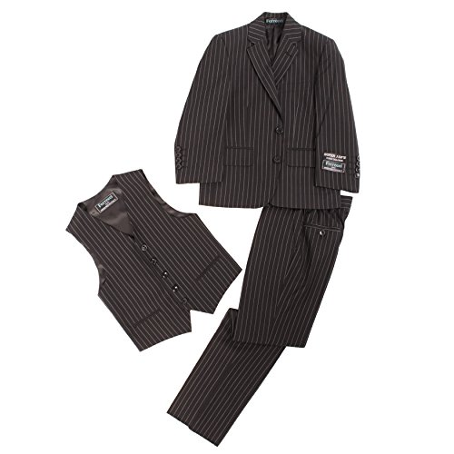 Custom Fit Pinstripe Suit - Ferrecci 18 Black Pinstripe Boys 3pc Suit