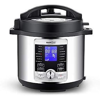 Geek Chef 6 Qt 17-in-1 Multi-Use Electric Pressure Cooker Stainless Steel Inner Pot Programmable LCD Display Digital Slow Cooker, Rice Cooker, Yogurt Maker, Egg Cooker, Sauté, Steamer, Warmer GP60D