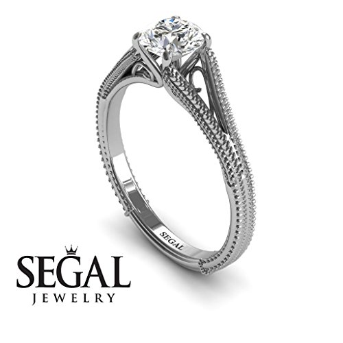 Unique Engagement Ring 14K White Gold Vintage Art Deco Victorian Ring Edwardian Ring White diamond – Eva