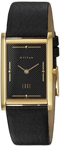 Titan Men's Edge Stainless Steel Quartz Watch with Leather Calfskin Strap, Black, 22 (Model: 1043YL06 ()
