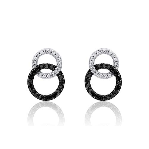 White Circular Earring - TJD 925 Sterling Silver 1/4 Carat Diamond Earrings (HI Color, I3 Clarity) Black and White Diamond Circular Earrings for Women