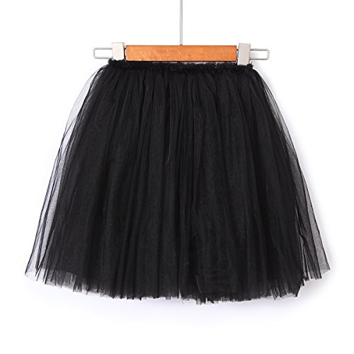 Flofallzique 6 Colors Toddler Skirt Princess Skirt Long Tulle Party Skirt for Girls (6, Black)