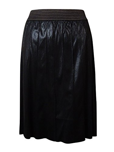 Modamix Women's Pleated Faux Leather Shimmer Skirt (1X, Jet Black)