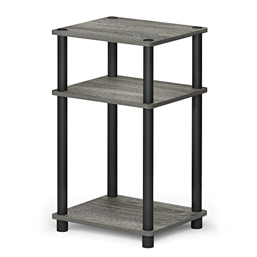 (FURINNO 11087GYW/BK JUST Turn-N-Tube 3-Tier End Table, 1-Pack, French Oak Grey/Black)
