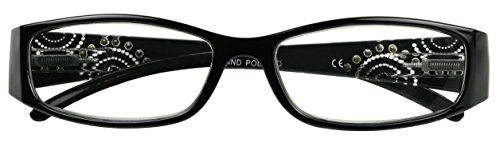 ShadyVEU - Rectangular Bedazzled Reading Glasses Zoom Rx Readers +1.50 +2.50 +3.00 (Black, - Glasses Bedazzled