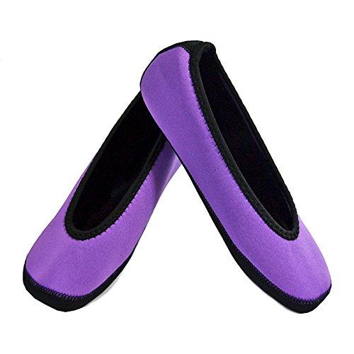 NuFoot Ballet Flats Womens Shoes, Best Foldable & Flexible Flats, Slipper Socks, Travel Slippers & Exercise Shoes, Dance Shoes, Yoga Socks, House Shoes, Indoor Slippers, Purple, Extra Large