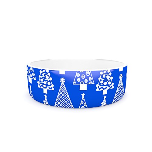 7\ Kess InHouse Emine Ortega Jolly Trees bluee  Royal Pet Bowl, 7