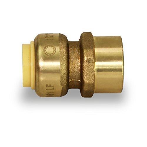 Pushlock UPFC12 X Female Adapter Push to Connect Pex Copper, CPVC, 1/2 Inch, Brass, 1/2