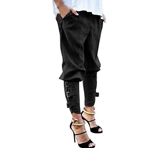 Harem Autunno Con Festa Vita Fit Fibbia Pantaloni Pantaloni Tempo Pantaloni Slim Elastica Style Tasche Primaverile Monocromo In Accogliente Libero Moda Vita Pants Lunga Alta Donna Nero Metallo Eleganti 5YY4Oq