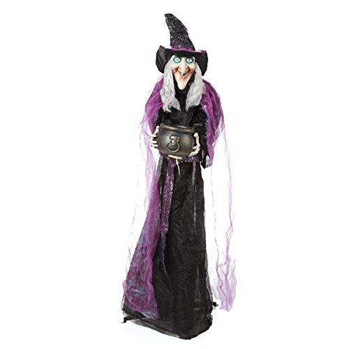 Lifesize Witch With Animated Lighted Cauldron Halloween Stand (Animated Witches)