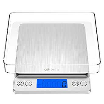 KeeKit Digital Kitchen Scale, 5kg 1g Multifunction Kitchen Scale with 2 Trays, High Accuracy Food Scale with 6 Units, Backlit LCD Display, PCS, Tare & Auto Off for Cooking, Baking (Batteries Included)