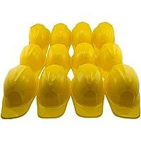 Adorox 24pcs Yellow Construction Soft Plastic Child Hat Helmet Costume Birthday Party Favor Kids Hard Cap Halloween Toy (24 Yellow Hats)