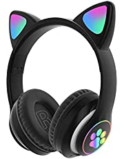 CALIDAKA Stereo Gaming Headset for PS4, PC, Mobile, Noise Cancelling Over Ear Wireless Headphones with RGB Led Light Foldable Soft Memory Earmuffs Bluetooth 5.0 for Kid Adult