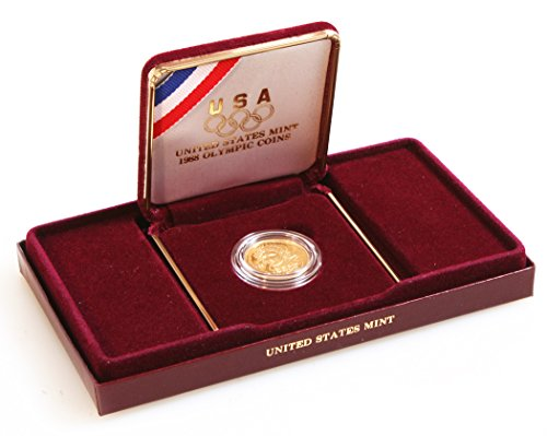 - 1988 US MINT COMMEMORATIVE OLYMPIC $5 GOLD COIN IN BOX