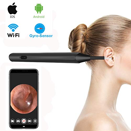 Ear Otoscope, Skybasic Gyro-Sensor Wireless Ear Camera 1.3 Megapixels WiFi Ear Cleaning Scope with 6 LED Lights Earwax Removal for iOS and Android Smartphone,iPhone,Samsung,Tablet