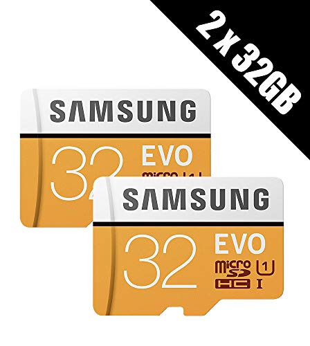2 x Samsung Memory Evo 32GB Micro SDHC Card 95MB/s UHS-I U1 Class 10 with Adapter (Multi-pack of 2 cards and adapters)
