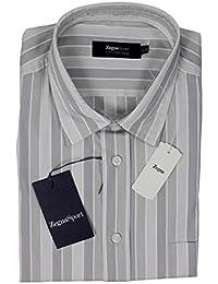 ZEGNA SPORT Gray Striped Cotton Silk Regular Fit Dress Shirt 17 1/2 XL