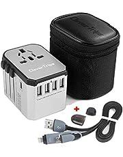 CleverTrips™ Universele reisadapter reisstekker alles in een wereldwijde internationale oplader netstekker reisadapter met 5,6 A Smart Power USB en 3,0 A USB Type-C voor VS EU UK uit (zilver)