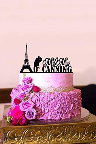 Custom Last Name Wedding Cake Topper Personalized Acrylic Cake Topper Paris Cake Topper Eiffel Tower Mr and Mrs Cake Topper for Wedding Elegant and Romantic Customized