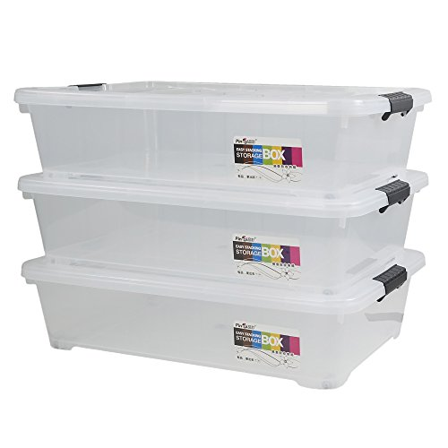Hommp 3-Pack 40 Quart Plastic Under Bed Storage Box Container, Clear Storage Box Wheeled Latching Box, 26-INCH x 18.5-INCH x 6.3-INCH