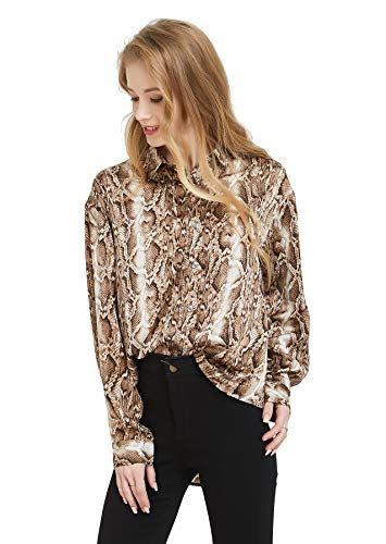 Tronjori Womens Oversized Long Sleeve Button Down Leopard Snake Zebra Animal Print Shirt Blouse (XS,Brown Snake)