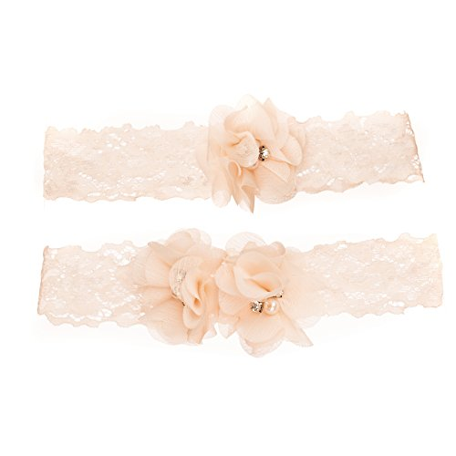Vintage Wedding Stretch Lace Floral Garter Set -Antique White/Ivory w/Flowers -2 (Floral Garters)