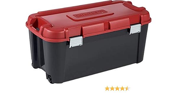 Allibert 229227 Totem - Caja de Almacenamiento con 2 Ruedas, plástico 79,5 x 39,5 x 37,1 cm, 80 l, Color Negro y Rojo: Amazon.es: Hogar