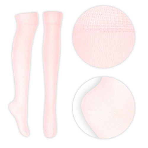 Oromiss para mujer, por encima de la rodilla calcetines colores Plain Bright Neon Party Fancy Dress rosa pastel