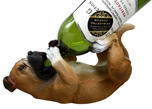 Ebros Gift Realistic Fawn Boxer Dog Wine Bottle Holder Caddy Figurine 10