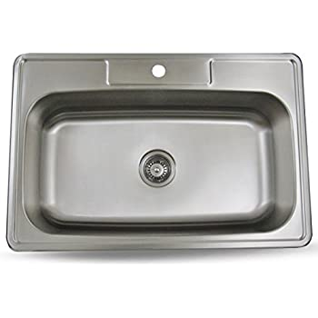 This Item Sink Smart 33 Inch Top Mount Single Bowl Kitchen Sink Stainless Steel 18 Gauge Satin Brush Finish