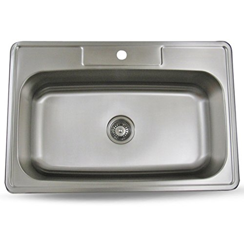 (Sink Smart 33 Inch Top Mount Single Bowl Kitchen Sink Stainless Steel 18 Gauge - Satin Brush Finish )