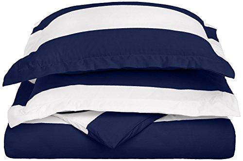 Cotton Blend 600 Thread Count, Soft, Wrinkle Resistant 3-Piece Full/Queen Duvet Cover Set, Cabana Stripe Navy Blue - Luxury Cabana Sheet Sets