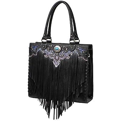 Fringe Concho Western Style Handbag Concealed Carry Purse Country Totes Bag Women Shoulder Bag Wallet Set