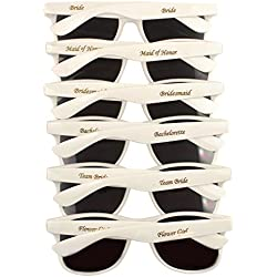 Bridal Party 6 PK Sunglasses for Wedding Events, Photo Booths, Bridesmaid Gifts