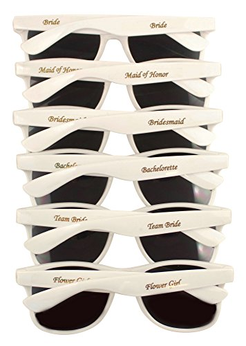 Bridal Party 6 PK Sunglasses for Wedding Events, Photo Booths, Bridesmaid - Sunglasses 6 Pack