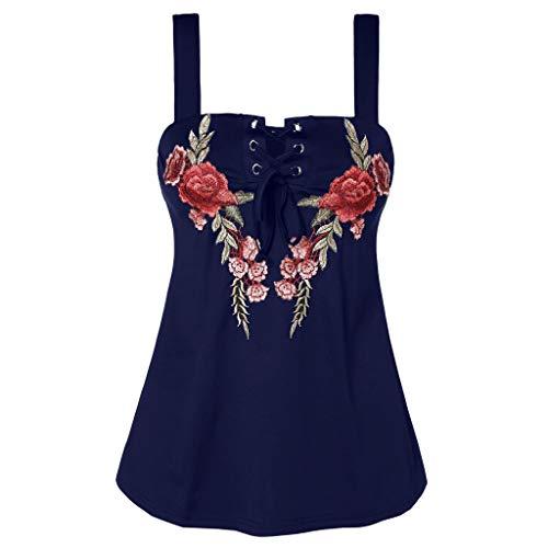 Sumen Women Tank Tops Summer Slim Fit Sleeveless Cross Straps Embroidered Vest T Shirt Blue