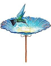 وعاء زجاجي لحمام الطيور في الهواء الطلق بحديقة الطيور، بطول 66.04 سم، من بيكولا، مع أوتاد معدني (أزرق)