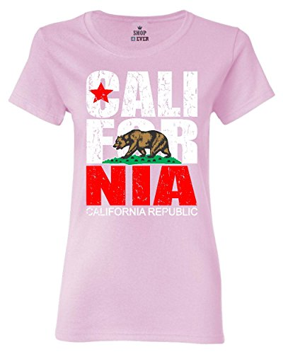 Shop4Ever California Republic Vintage Women's T-Shirt Cali Flag Shirts Medium Light Pink0