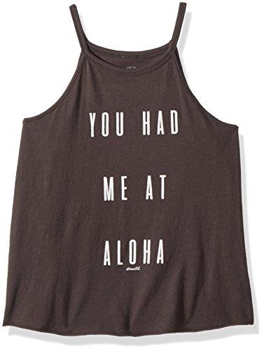(O'Neill Girls' Big Aloha Screened Tank, Washed Black,)