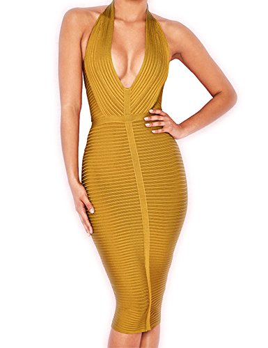 - Whoinshop Women 's Halter Deep V Neck Cocktail Party Dress (XL, Ginger)