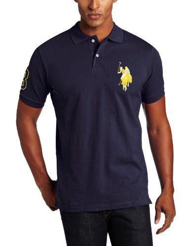U.S. Polo Assn. Men's Solid Polo With Tonal Big Pony, Classic Navy, Large