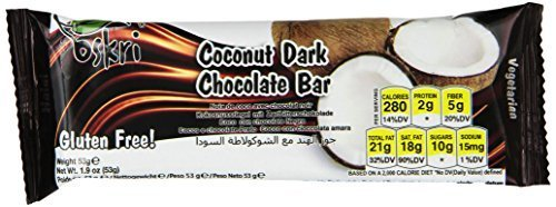 Oskri Coconut Bar, Original with Dark Chocolate, 1.9-Ounce (Pack of 20) by Oskri