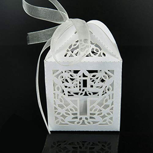 MEIZOKEN 50pcs Crossing Candy Boxes Wedding Gift Box Baby Shower or Birthday First Communion Christening Easter Decoration]()