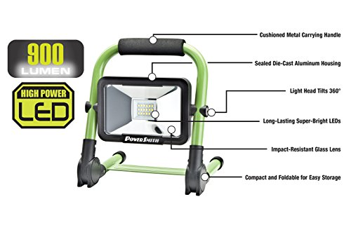 PWLR1110F 10W 900 Lumen Cordless Foldable Portable Metal Stand, Lithium Ion Battery LED Work Light for Camping, RV, Marine, Boating, with USB Port for Mobile Device Charging by PowerSmith (Image #2)