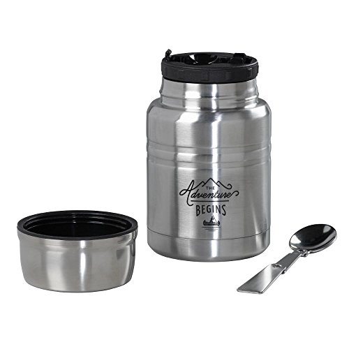 Gentlemen's Hardware GEN096 Insulated Camping Stainless Steel Food Thermos with Spoon