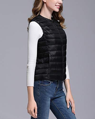 Leggero Packable Collo Senza Nero Donna Maniche Gilet Piumino Cappotto del Giacche Rotondo Ultra 60v1qq