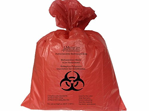 Medegen Medical Products AC3847R Red/Black Polypropylene Dual Tested Autoclavable Biohazard Bags with Indicator, 2 mil Gauge, 44 gal Capacity, 38'' x 47'' (Pack of 100)